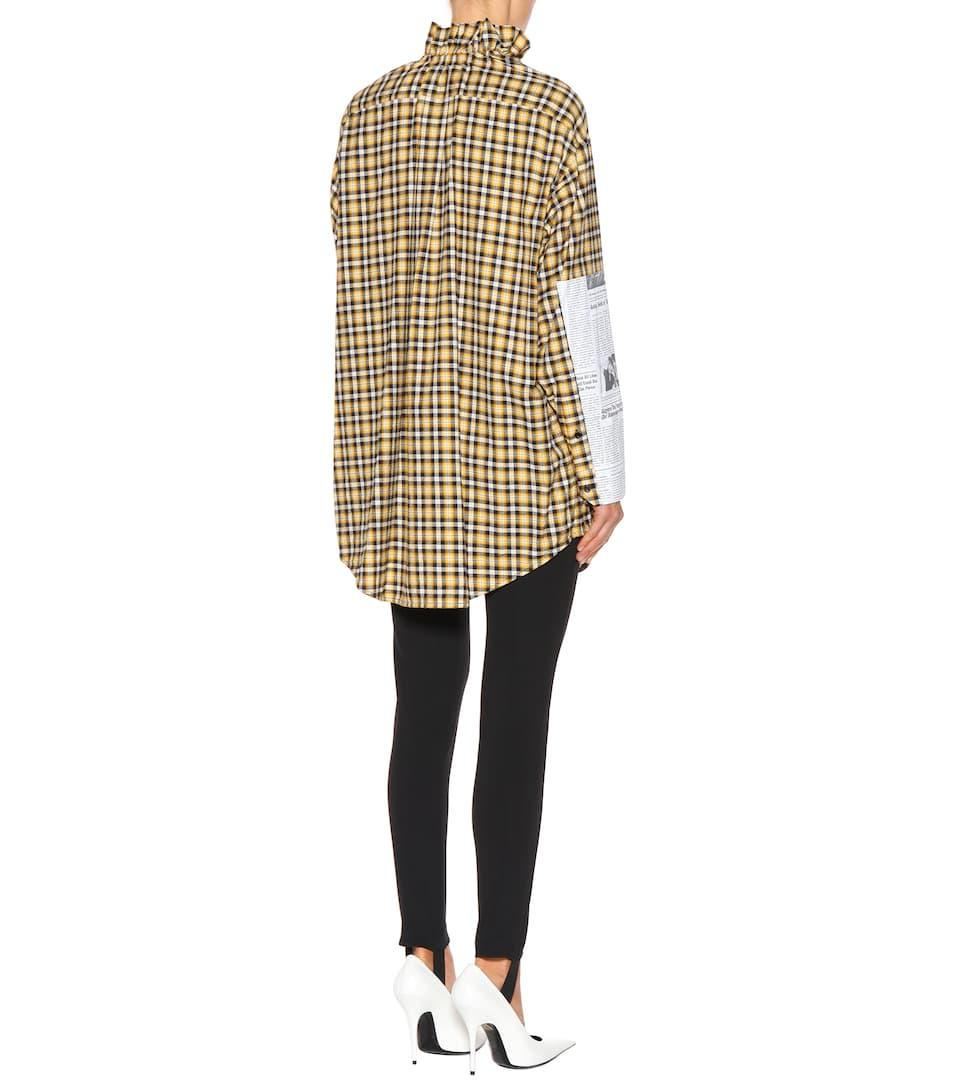 Camisa Amarillo de a algodón cuadros Balenciaga Negro Fv1PqqA