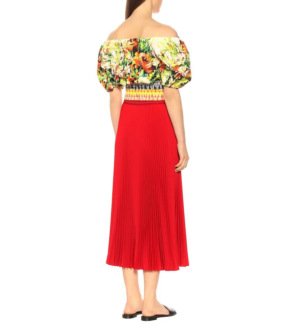 Falda de Prada plisada Lacca crepé midi RwwdEa