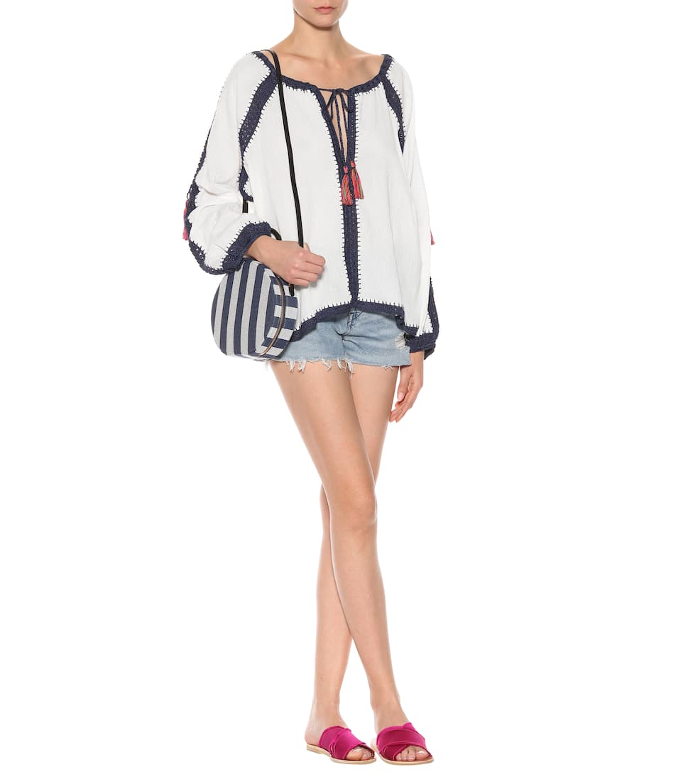 Anna Kosturova Bluse Sailor aus Baumwolle
