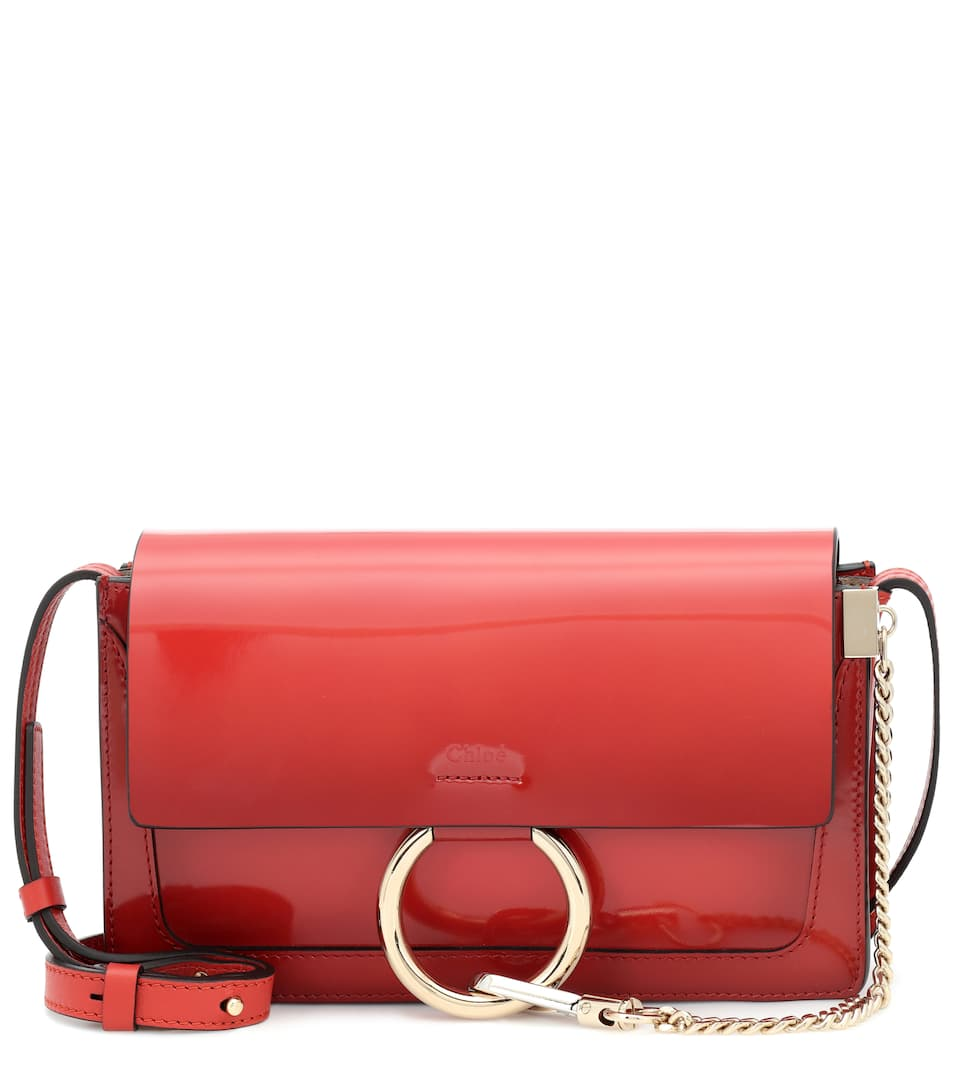 Faye Small Patent Leather Shoulder Bag in Red