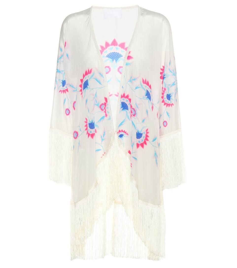 Athena Procopiou fringed silk kimono