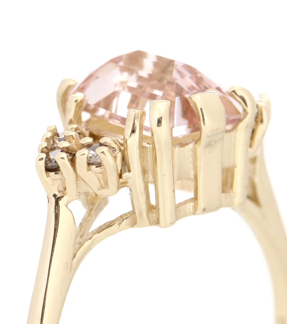 Anna Sheffield - Bague en or 14 ct, morganite et diamants Bea Arrow