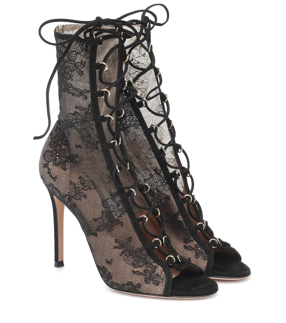 Stevie open-toe lace ankle boots