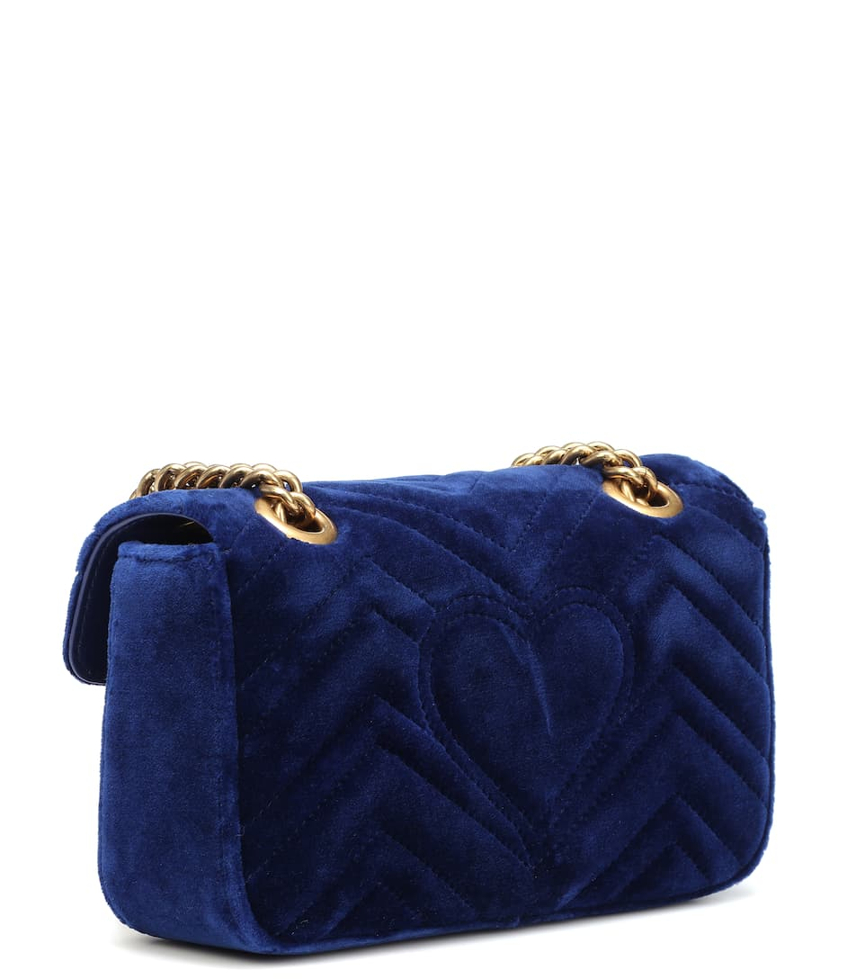 Sac cross-body en velours GG Marmont Small AzHPQMOM