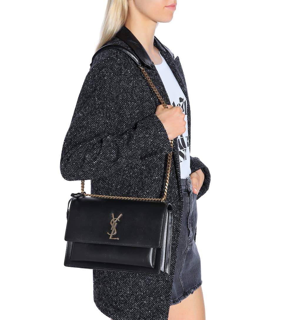 Saint Laurent Large Sunset Monogram Shoulder Bag Black