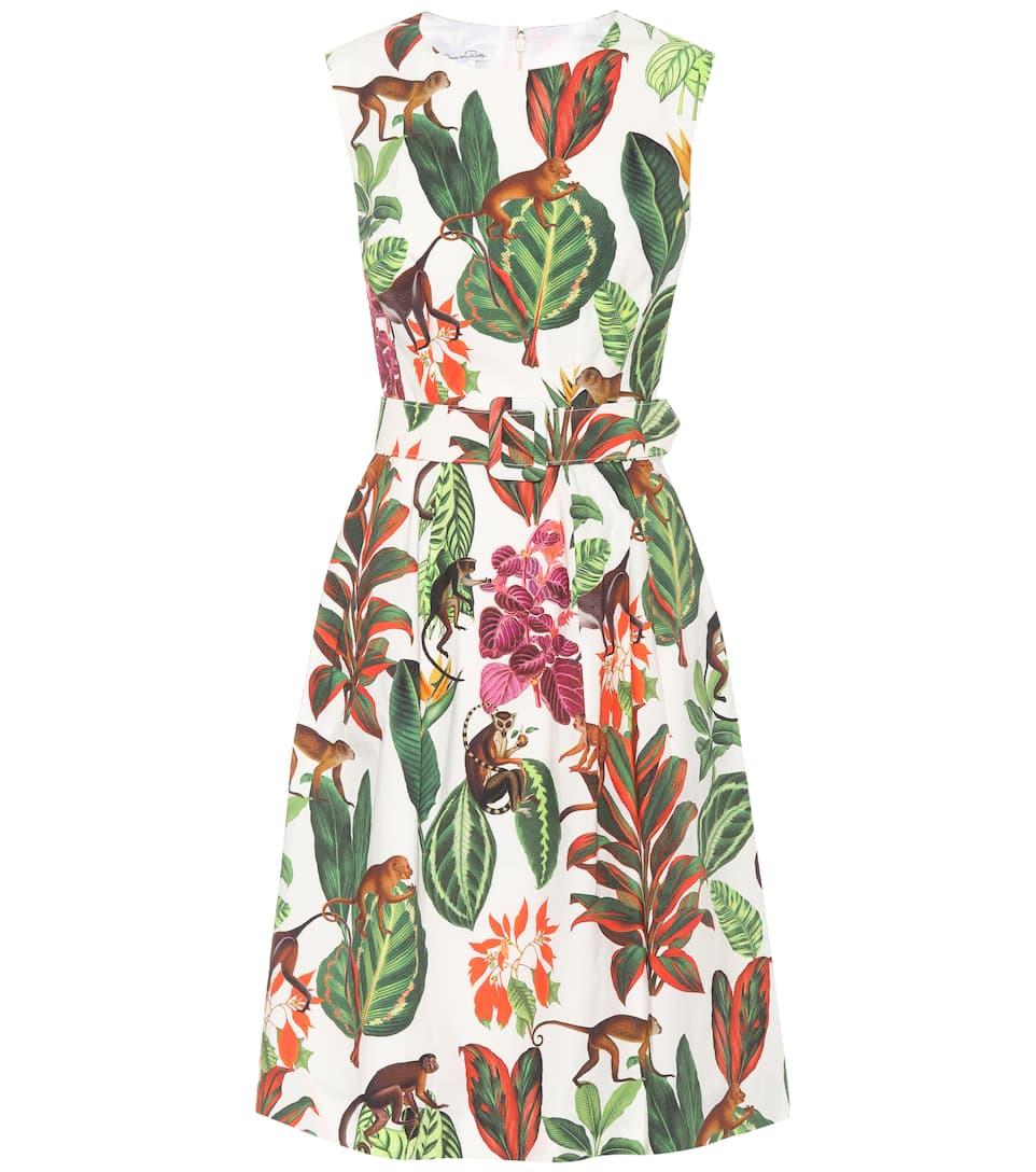 Oscar de la Renta Bedrucktes Kleid aus Seide und Baumwolle