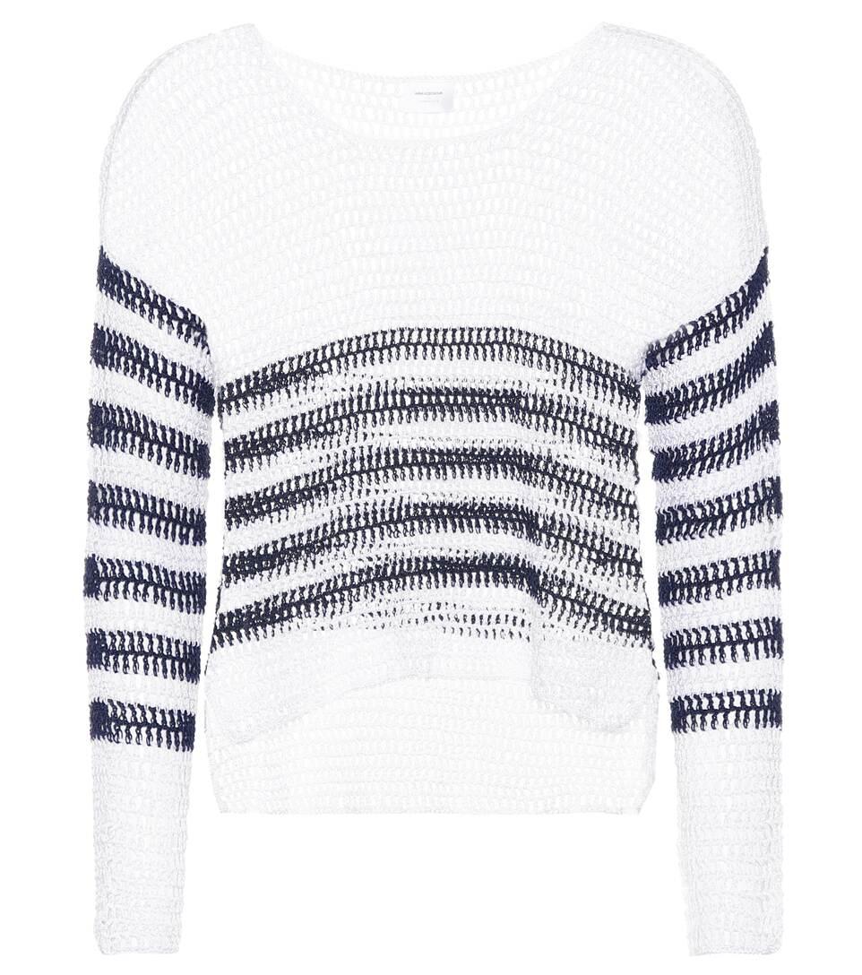 ANNA KOSTUROVA Sailor Crocheted Cotton Sweater in White