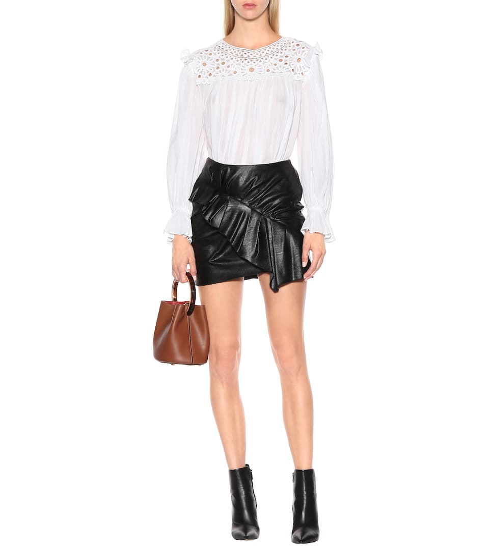 Zeist Ruffled Faux Leather Skirt