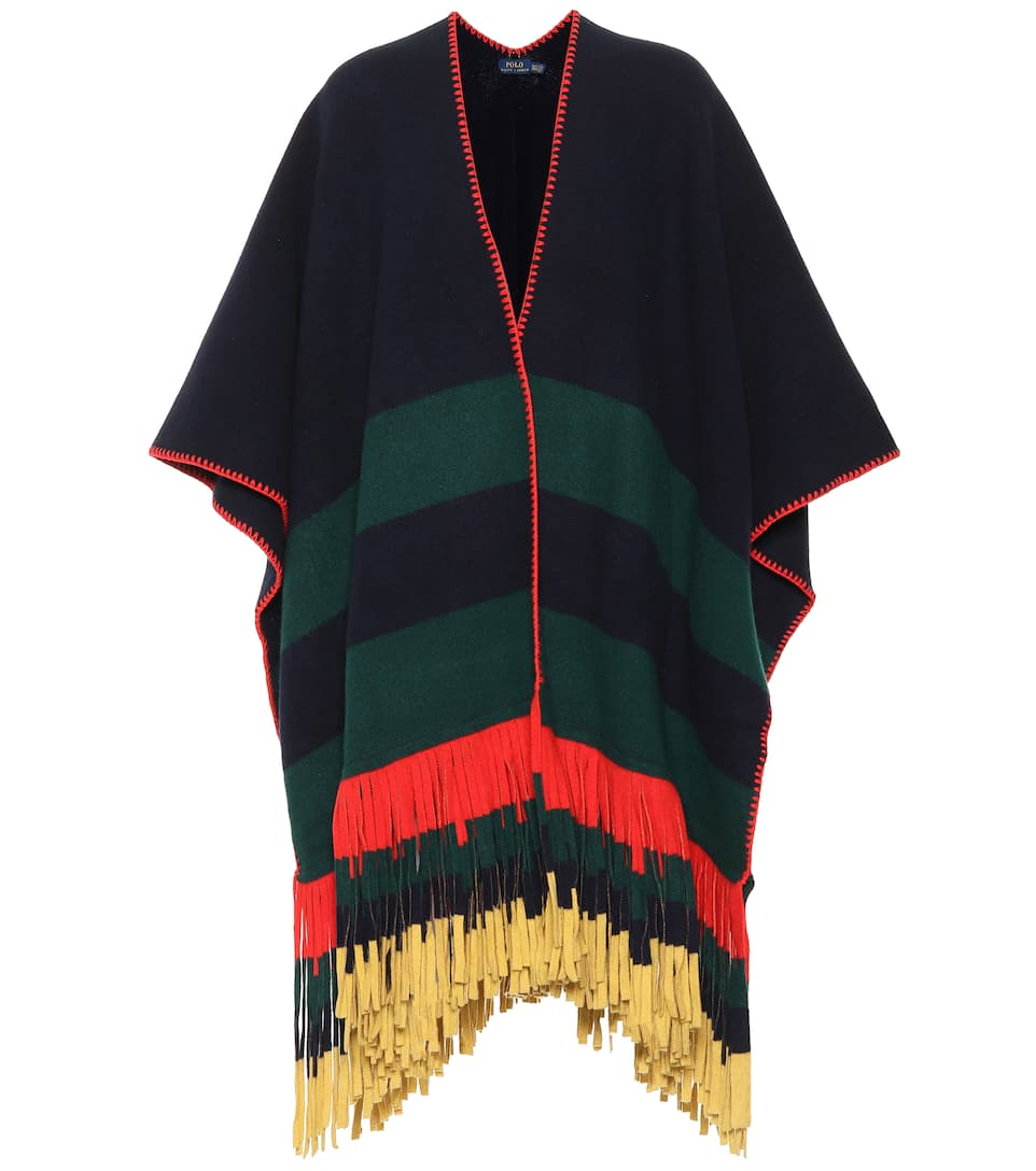 online store 50bcc 65f41 Poncho a righe in lana