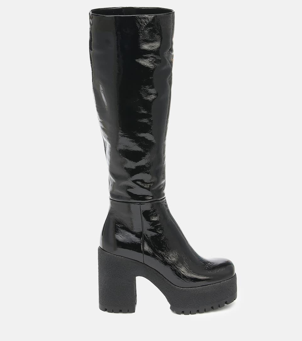 Leather Platform Knee-High Boots - Miu
