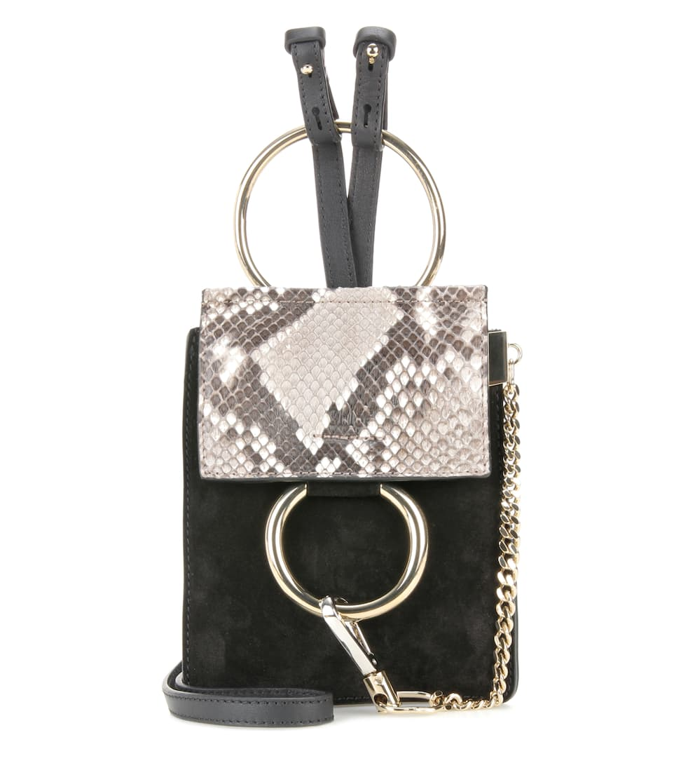 Chloé Faye Mini Bracelet suede and snakeskin bag