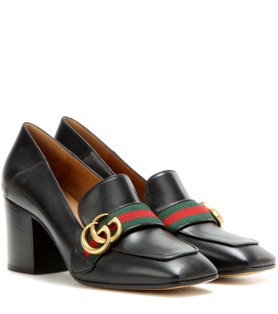 c01abaa3034 Leather Mid-Heel Loafers