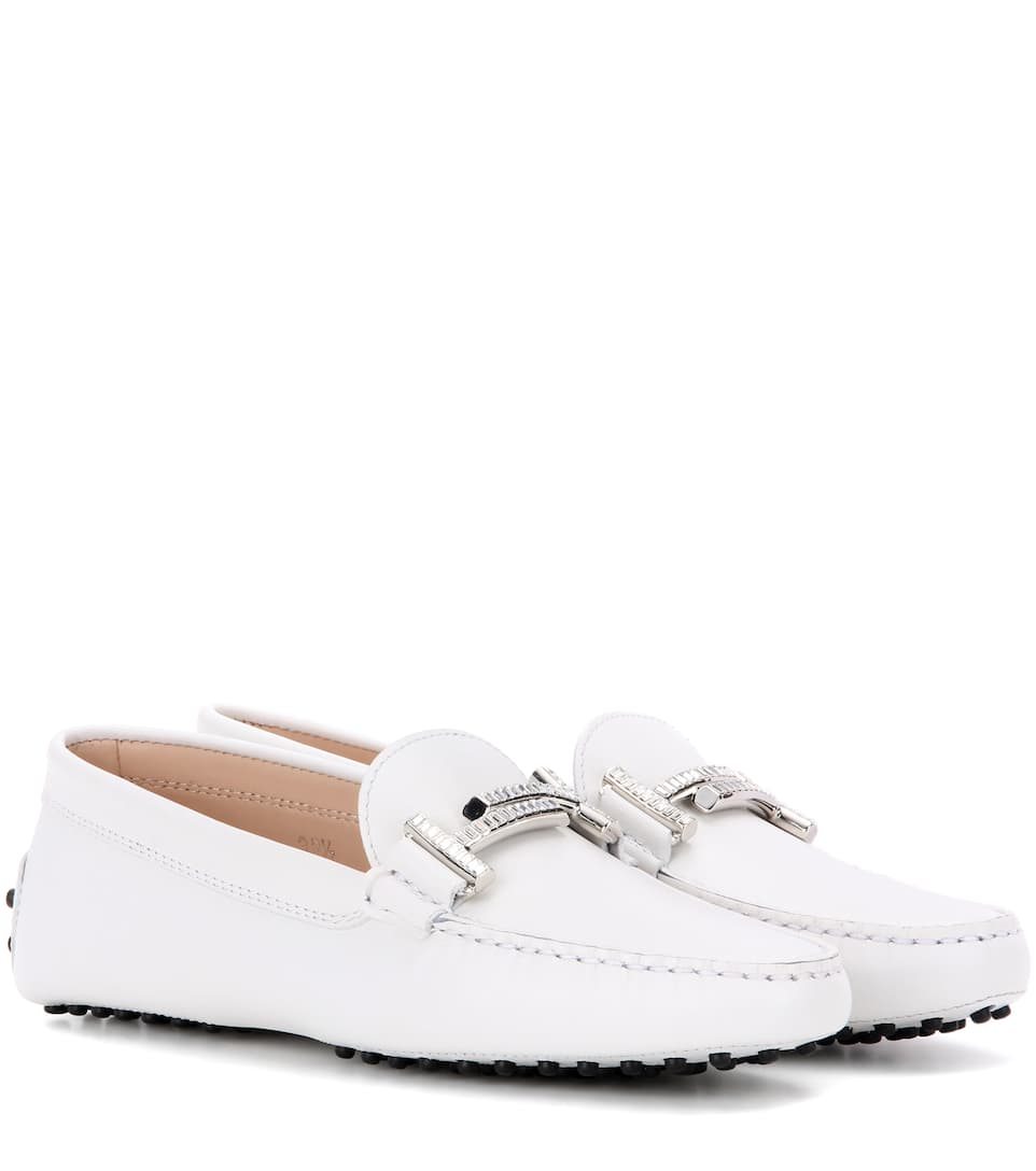 Tod's Gommini Double T crystal-embellished leather loafers