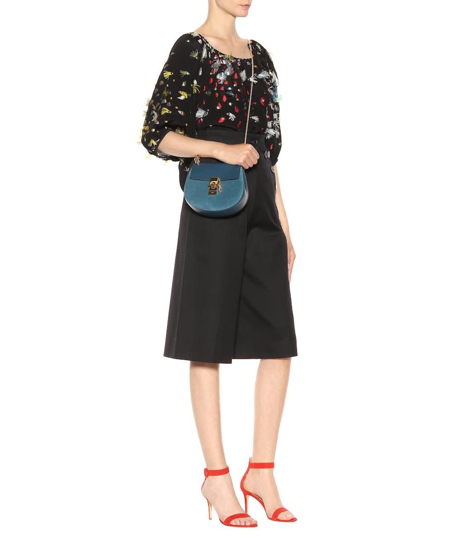 Chloé Schultertasche Drew Mini aus Veloursleder und Leder