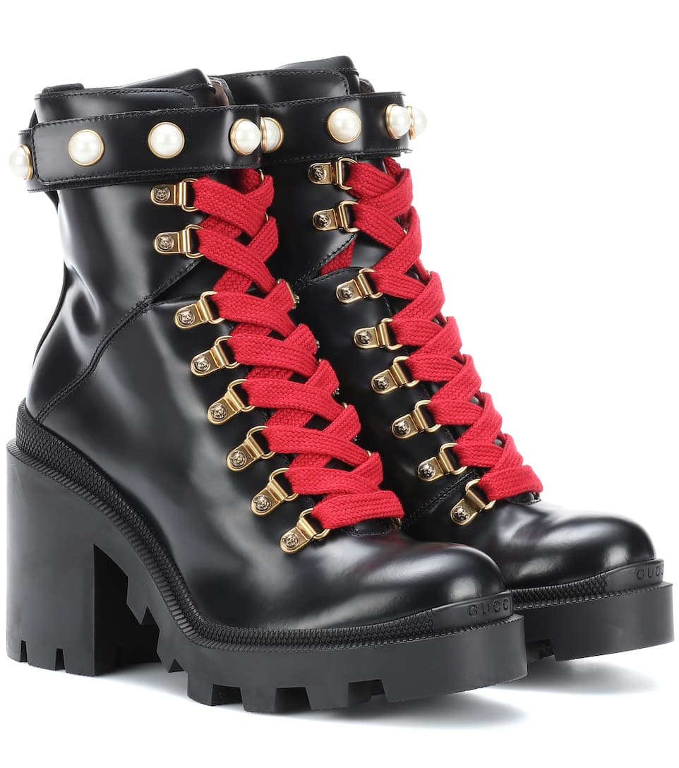 fee622e354c Embellished Leather Ankle Boots - Gucci