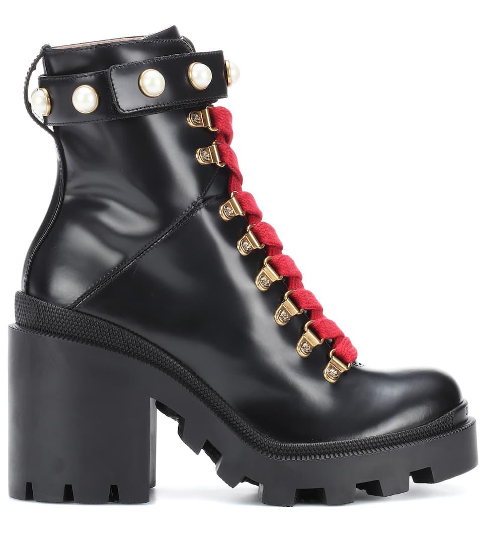 Gucci Verzierte Ankle Boots aus Leder Finish Auslass Truhe Billig Verkauf Ausgezeichnet Billige Echte Visa-Zahlung Zum Verkauf is3VVCgTS