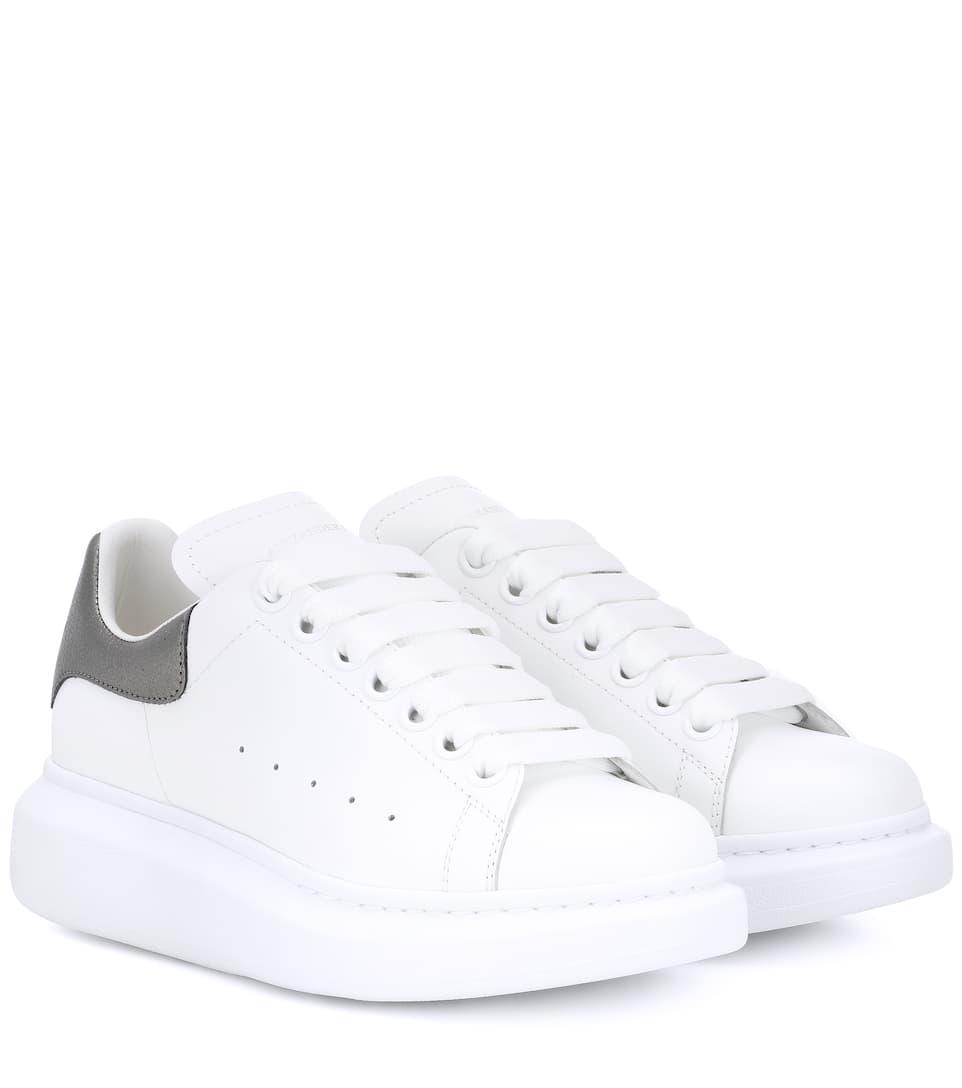 6a683b66068601 Metallic Trim Leather Sneakers - Alexander McQueen   mytheresa