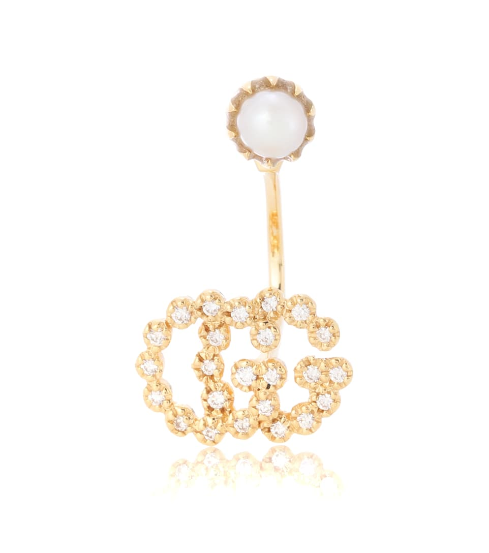 Gucci Running G 18kt gold single earring with pearls SpDLK4l0Ln