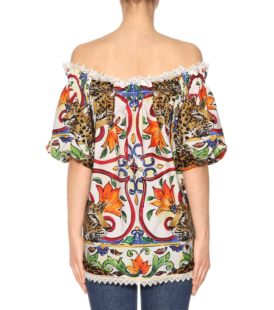 Dolce & Gabbana Printed Off-shoulder Top, Cotton