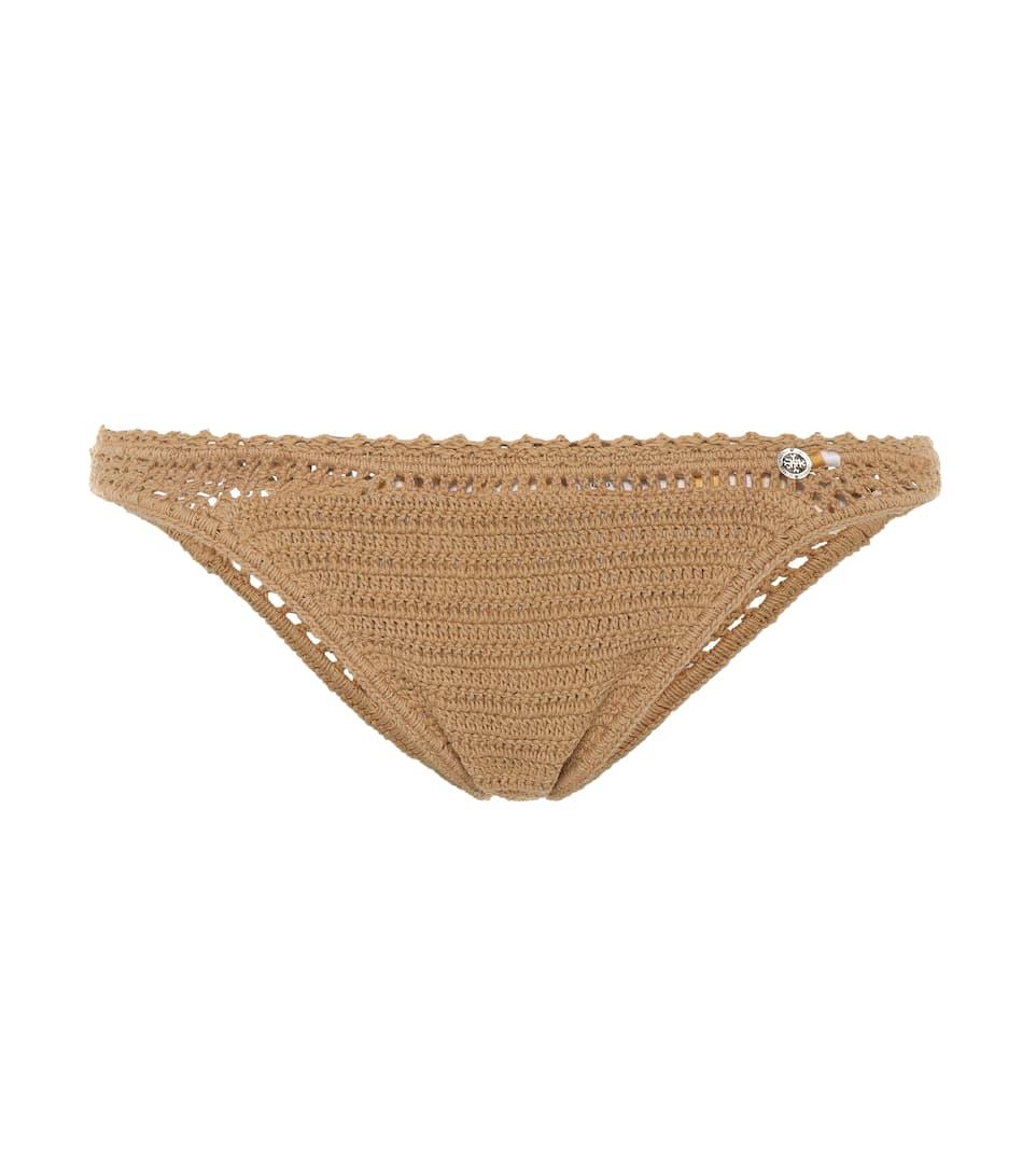 SHE MADE ME Crochet-Knit Bikini Bottoms in Brown