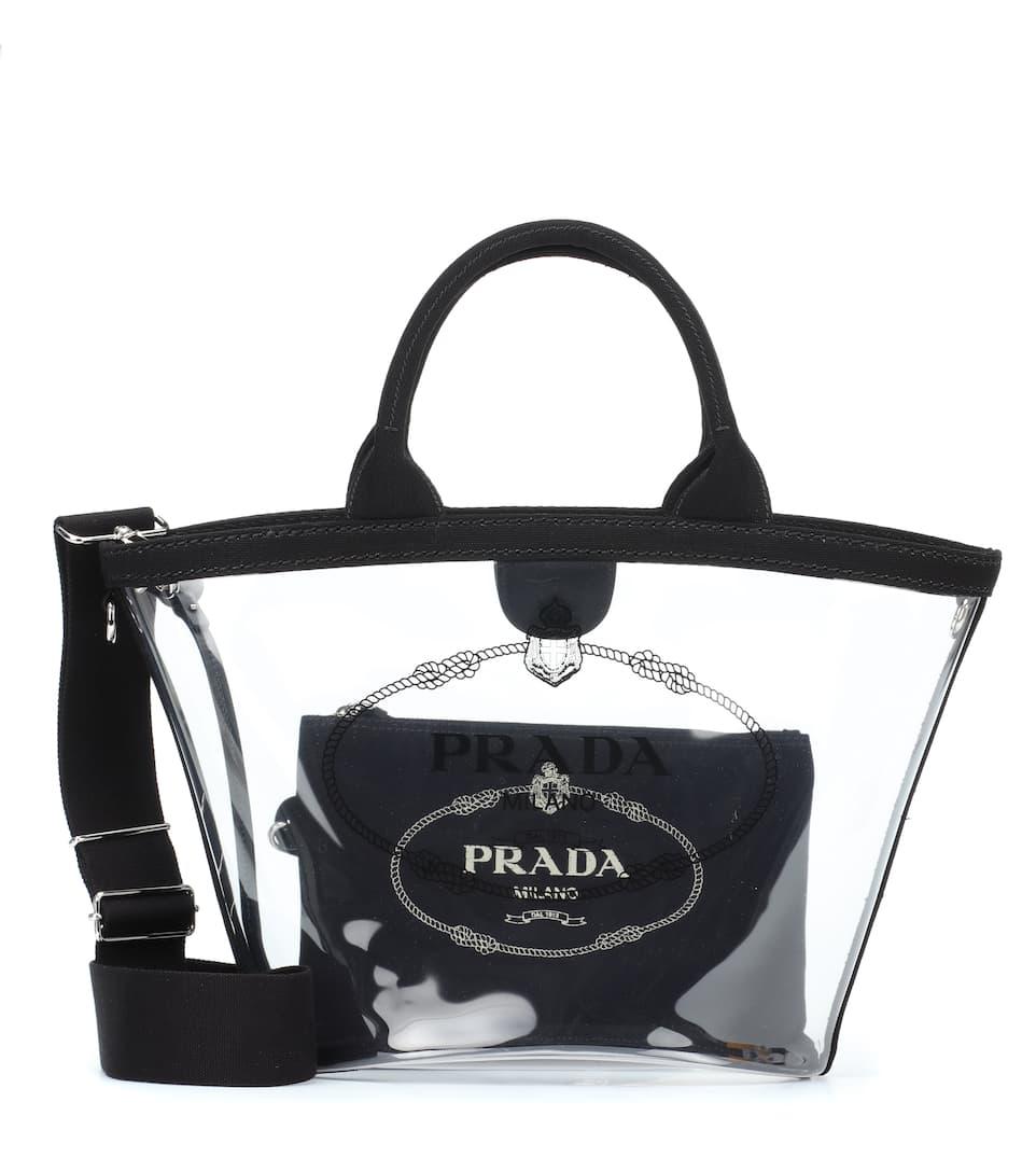 d9d5b3bda25d Printed Leather-Trimmed Pvc Tote - Prada | mytheresa.com