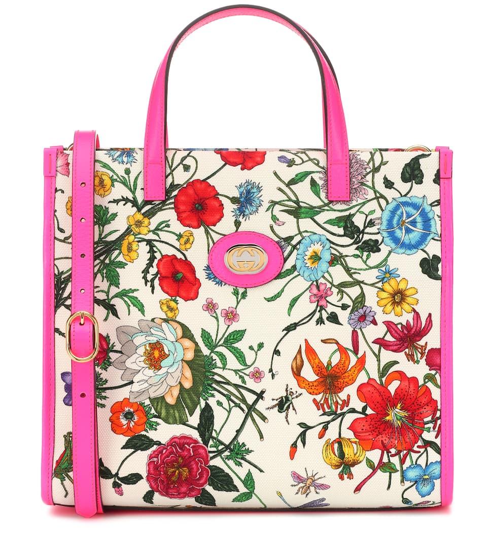 6d34855f7d78 Flora Medium Canvas Tote - Gucci | mytheresa