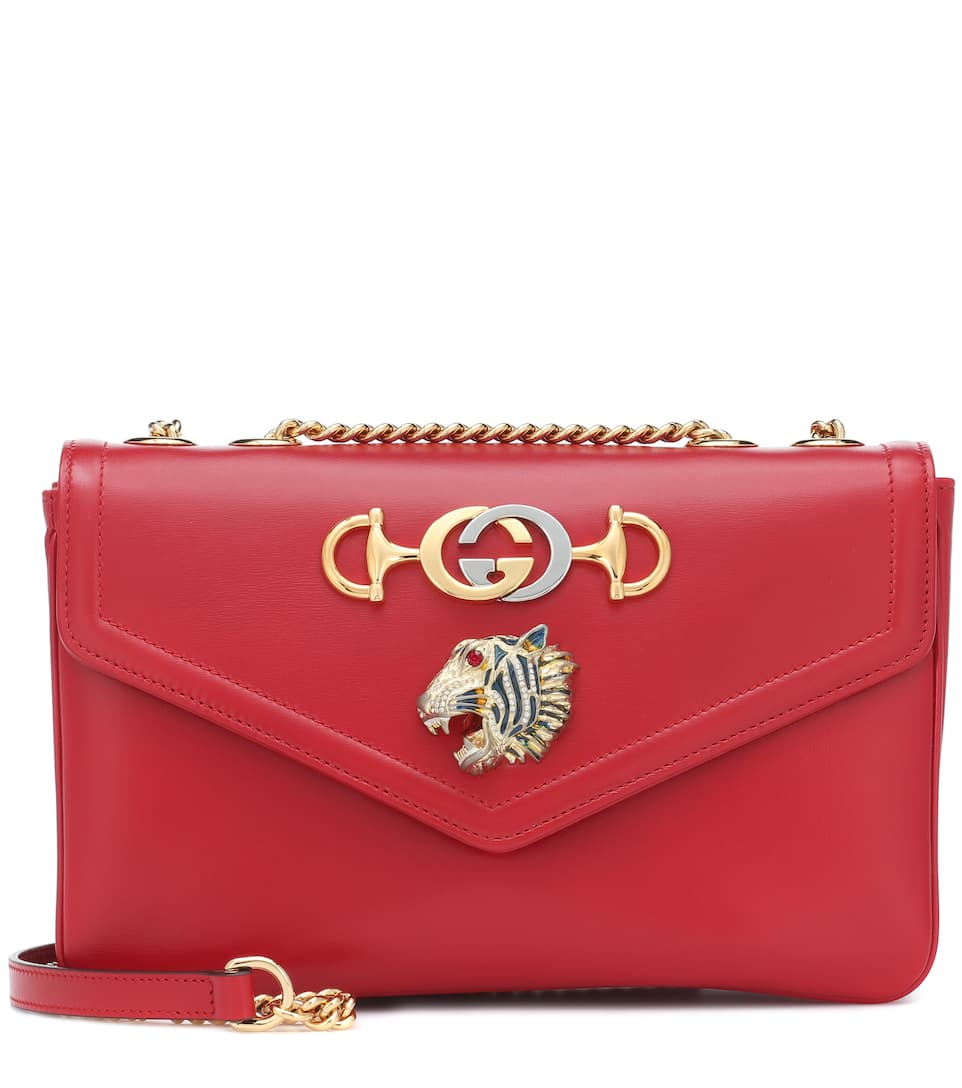 d7f9edb4f Medium Rajah Leather Shoulder Bag - Gucci | Mytheresa