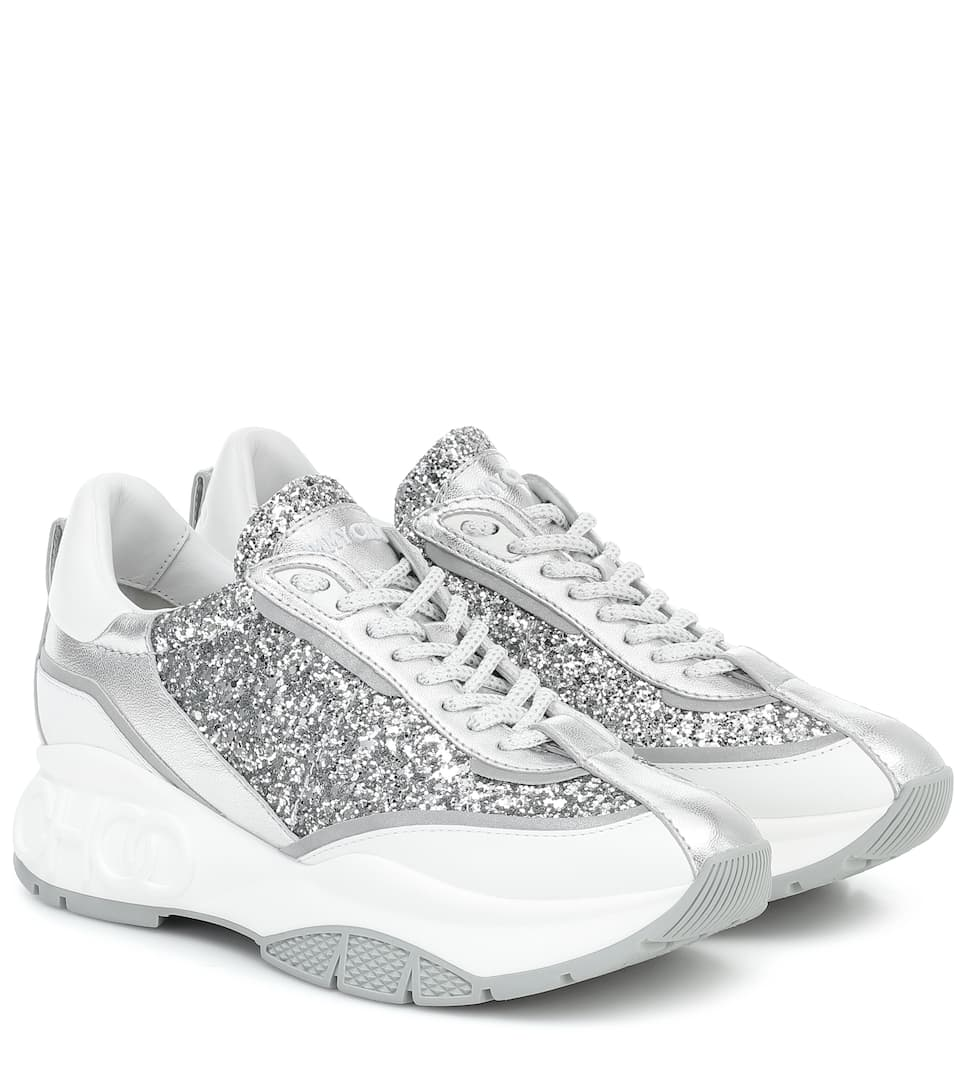 Raine Glitter And Leather Sneakers