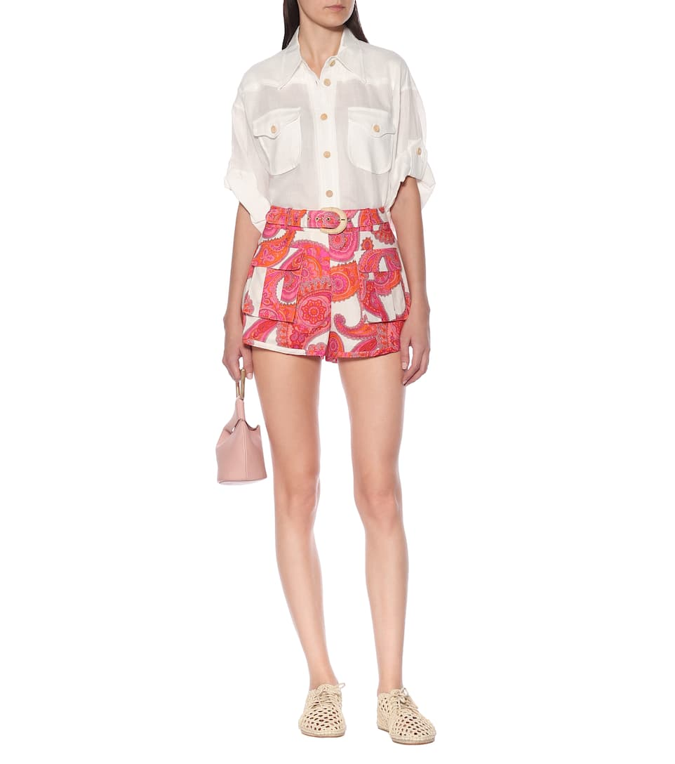 Peggy Printed Linen-Blend Shorts   Zimmermann - Mytheresa