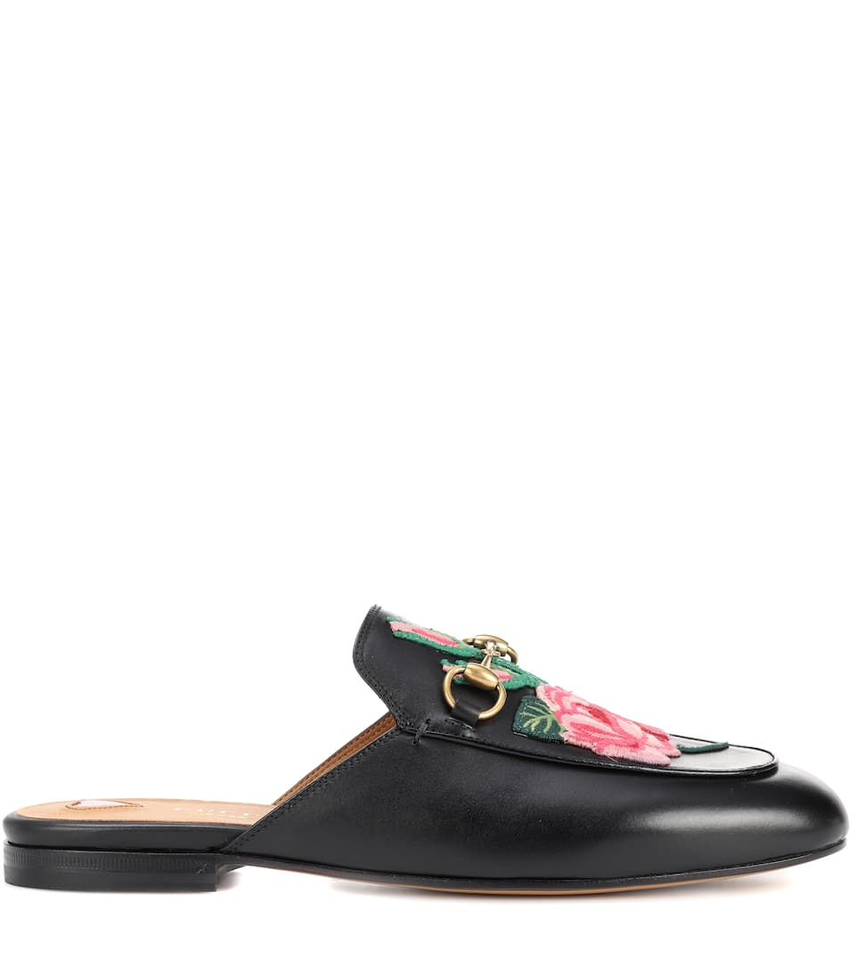 9f5c4a55a80 Princetown Leather Slippers With Embroidered Appliqué - Gucci ...