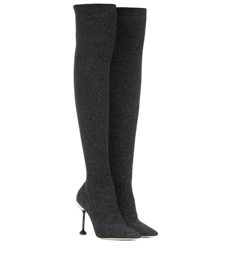 f42d0b17f1a Ribbed Knit Over-The-Knee Boots - Miu Miu
