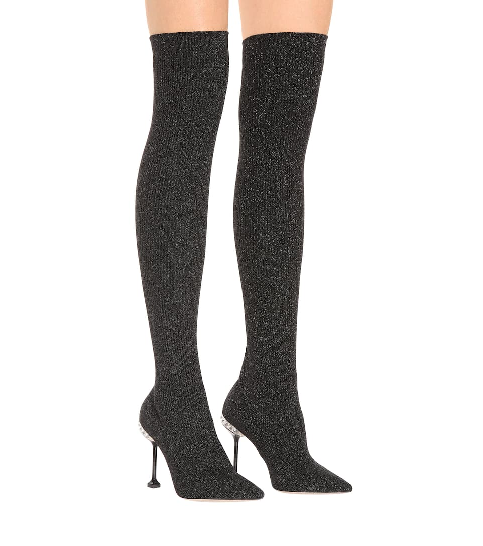 c89cd1ffc0d Ribbed Knit Over-The-Knee Boots