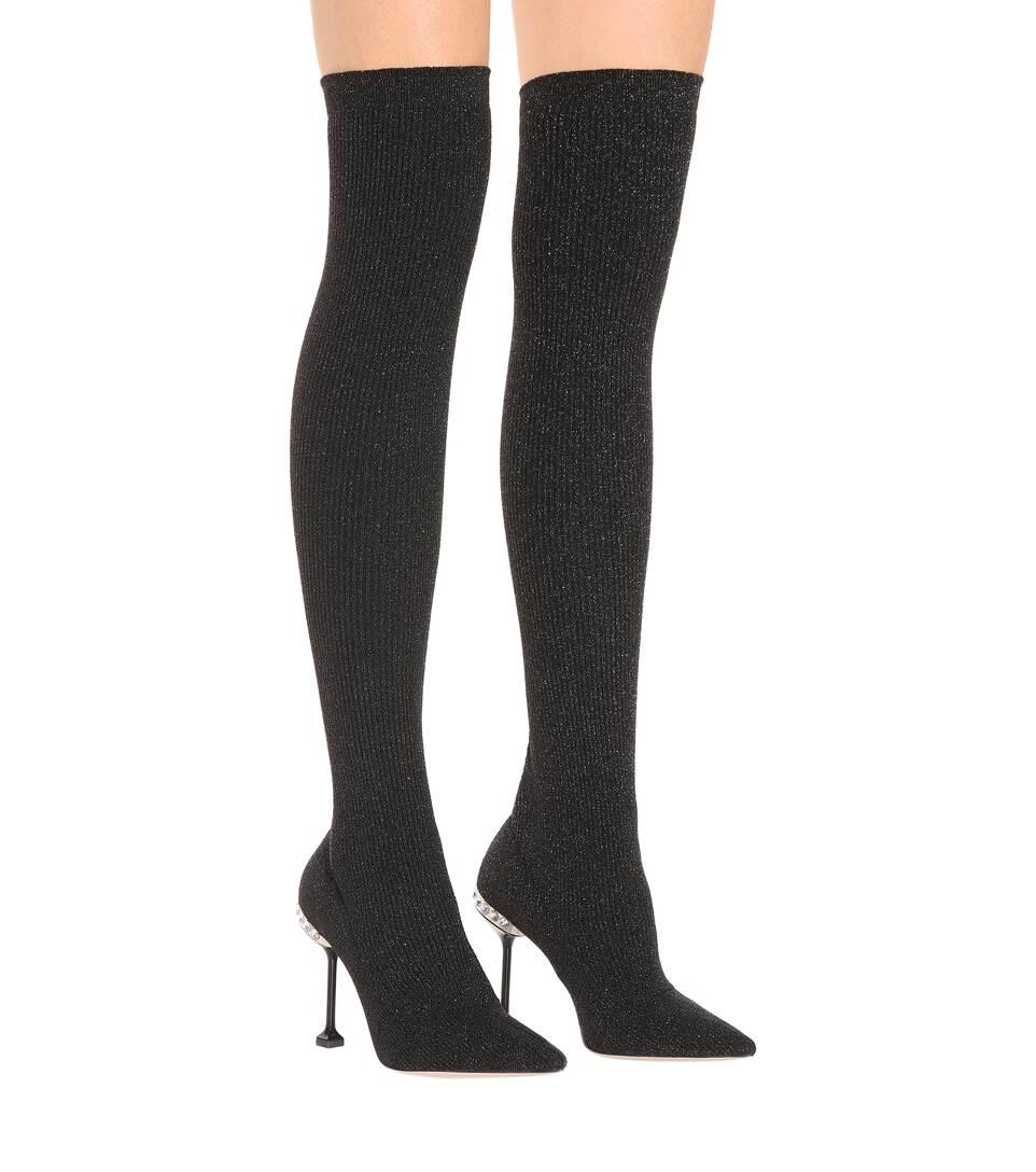 59dbc0ad08a5 Ribbed Knit Over-The-Knee Boots | Miu Miu - mytheresa.com