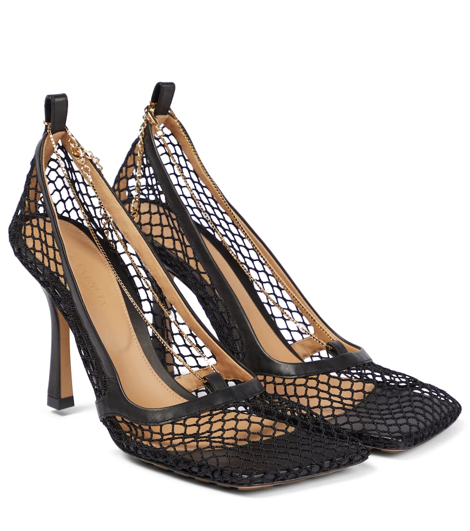 Leather-Trimmed Stretch-Mesh Pumps