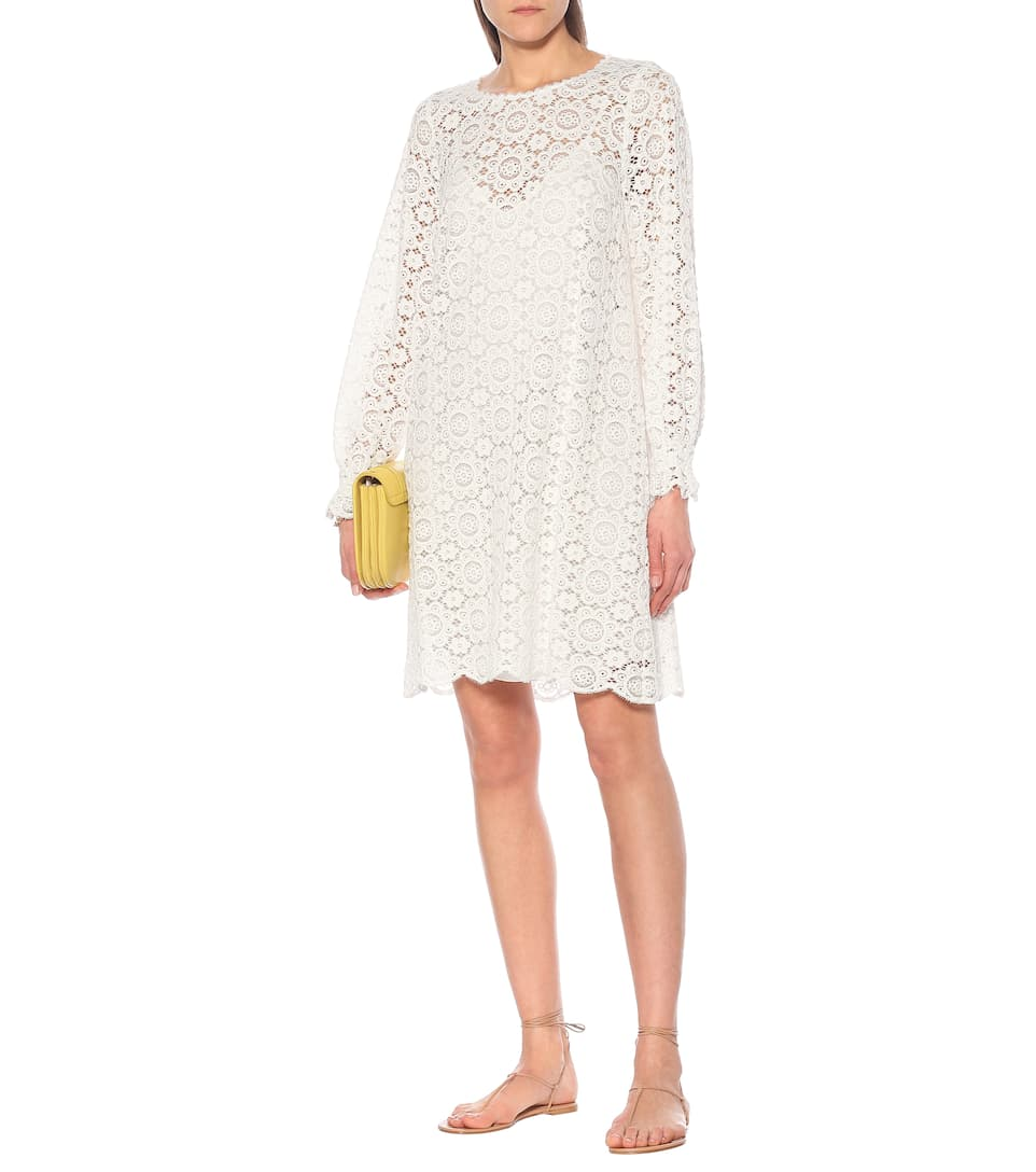 See By Chloé - Lace-trimmed cotton-blend minidress