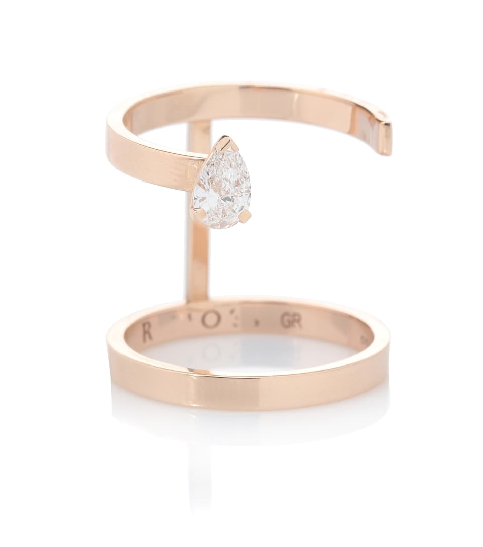 Repossi Serti Sur Vide 18kt rose gold ring with pear diamond