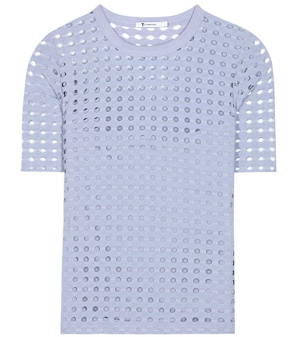 T by Alexander Wang Perforated jersey top