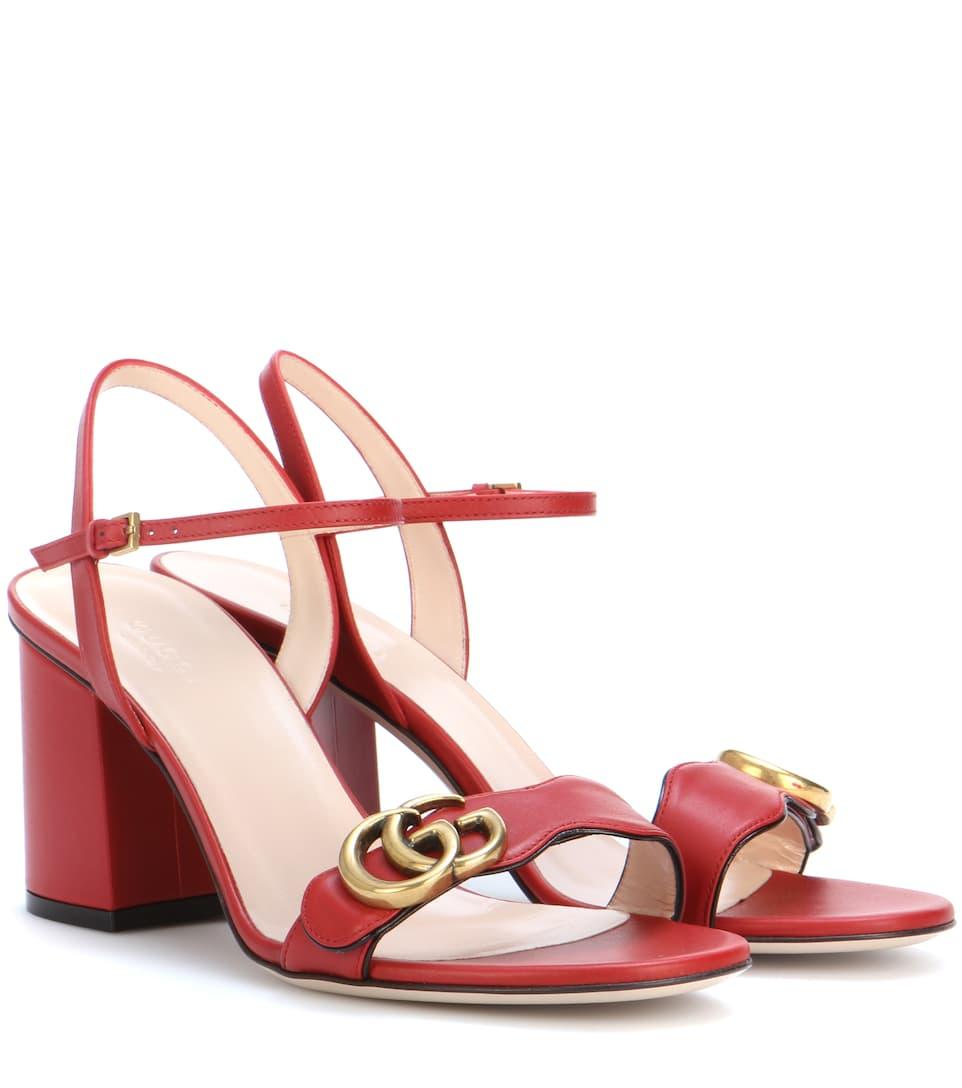 GUCCI Embellished Leather Sandals