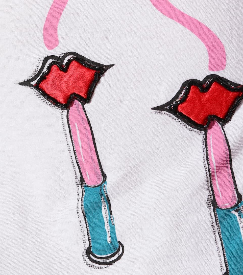 Valentino T-Shirt Lipstick Waves aus Jersey Billig Verkauf Wahl bVZXaMmJ5G