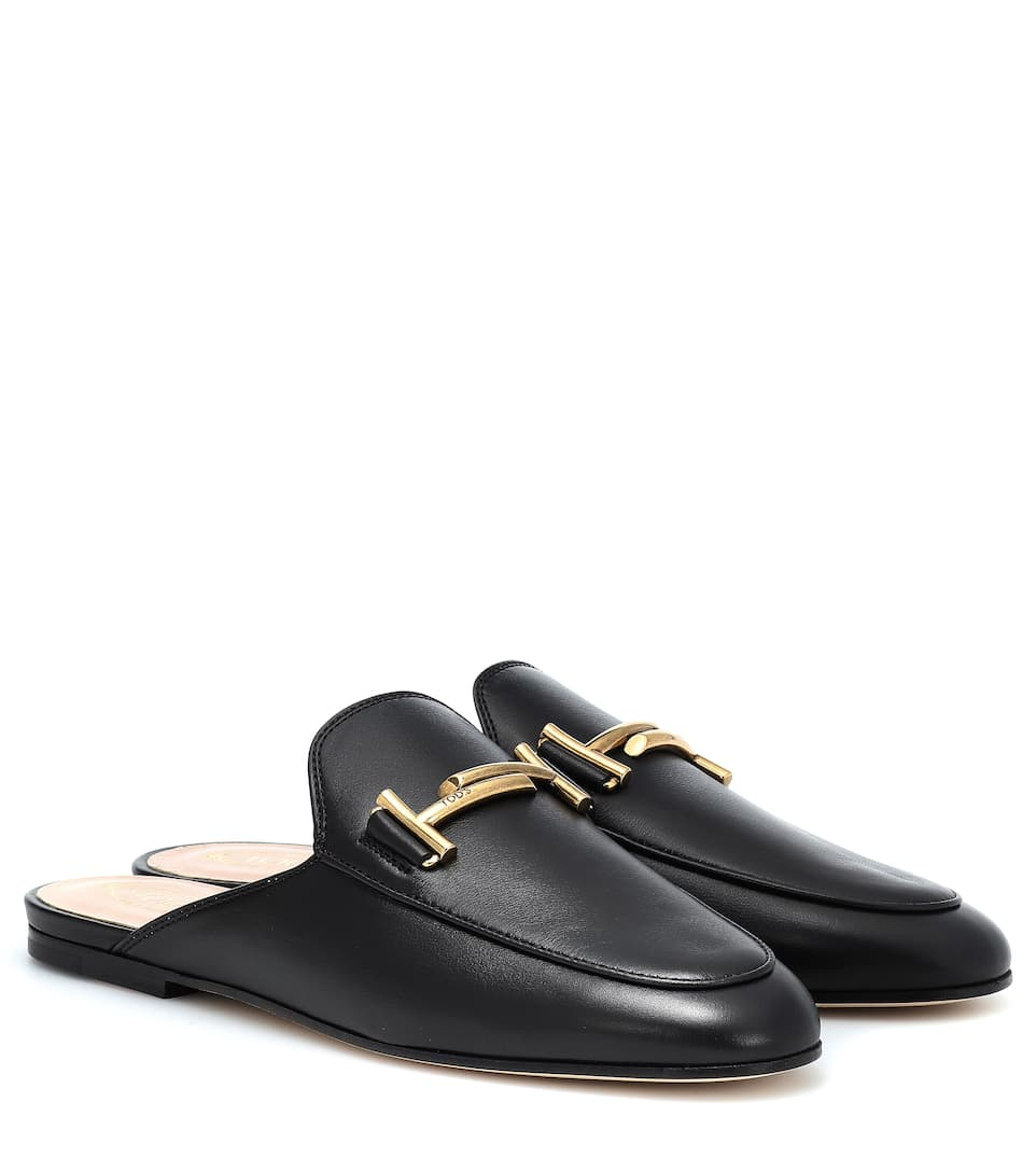 8769e78a0 Double T Leather Slippers - Tod's | mytheresa.com