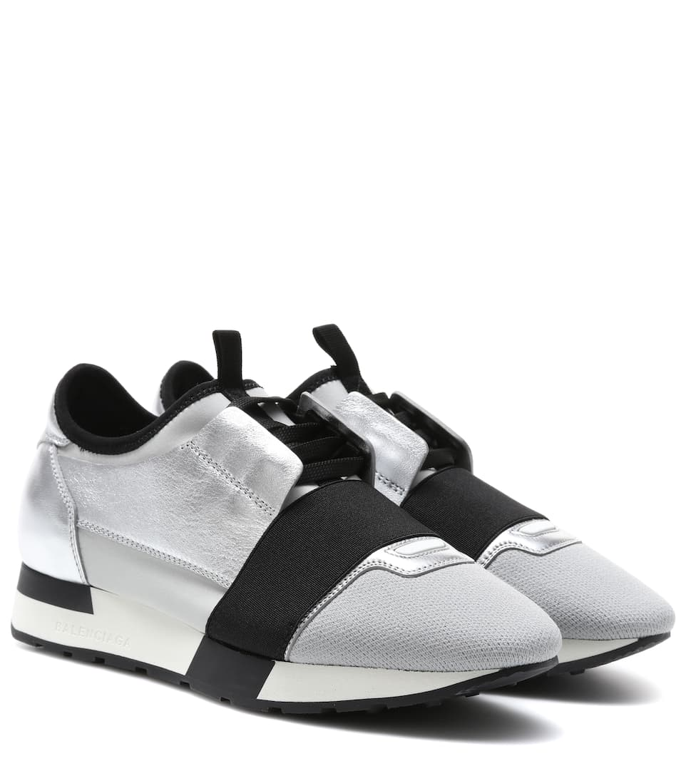 Balenciaga - Race Runner metallic leather sneakers