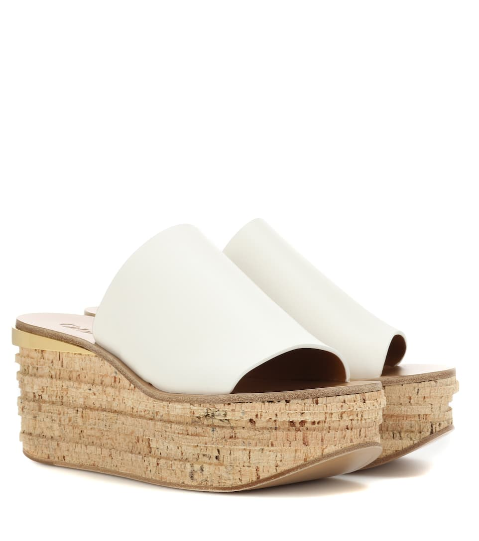 Leather And Cork Wedges, White