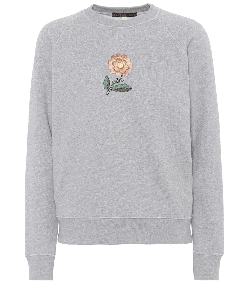 Alexa Chung Cottons EMBROIDERED COTTON SWEATSHIRT