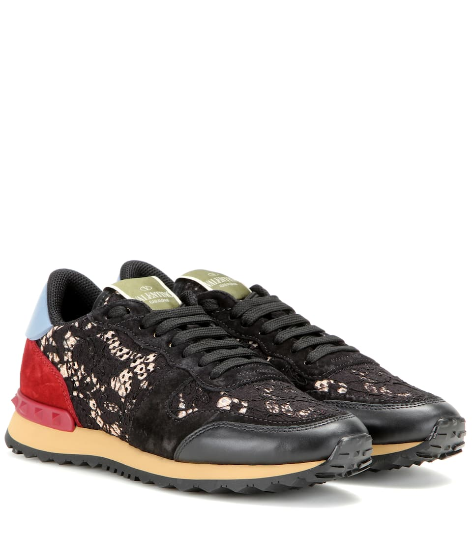 valentino garavani rockrunner lace leather and suede sneakers valentino mytheresa. Black Bedroom Furniture Sets. Home Design Ideas
