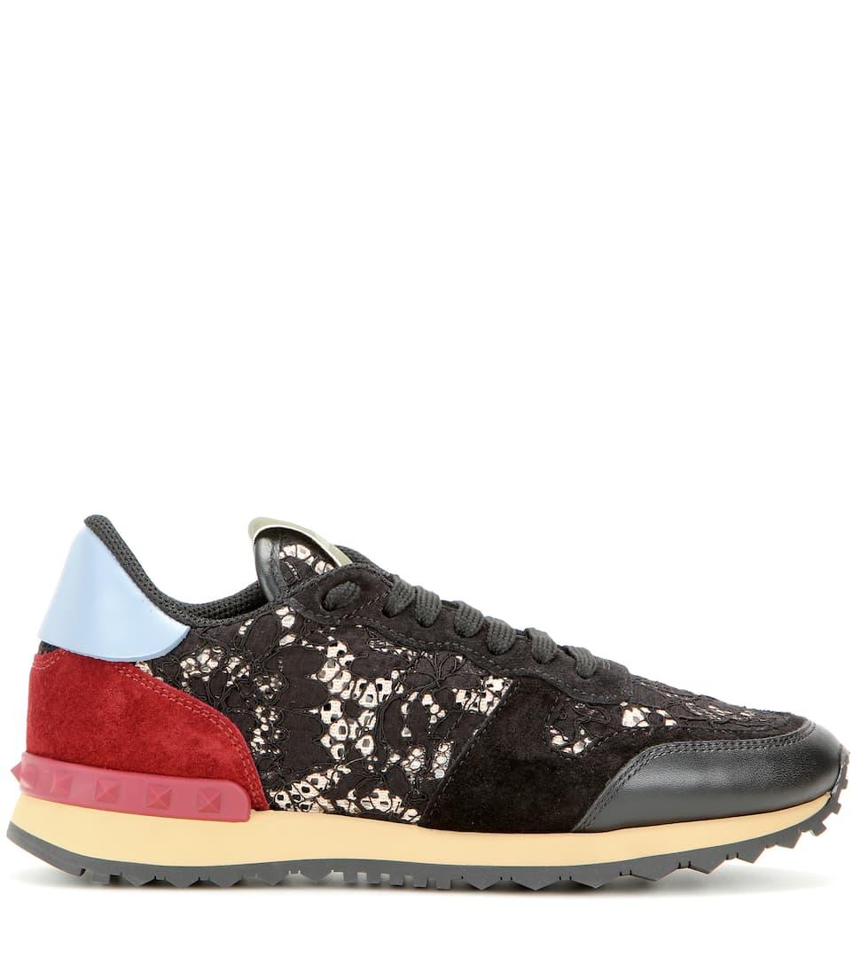 Valentino Garavani Valentino Garavani Rockrunner lace, leather and suede sneakers