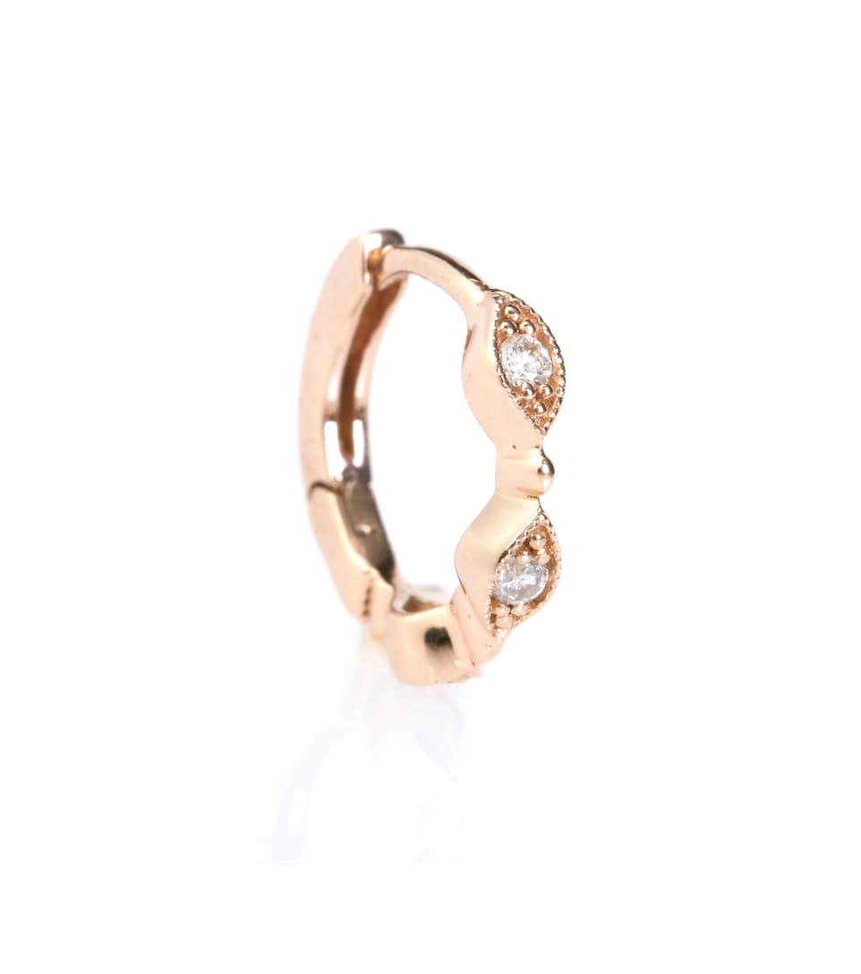 Stone Paris Mini Créole Yasmine 18kt rose gold hoop earring with white diamonds