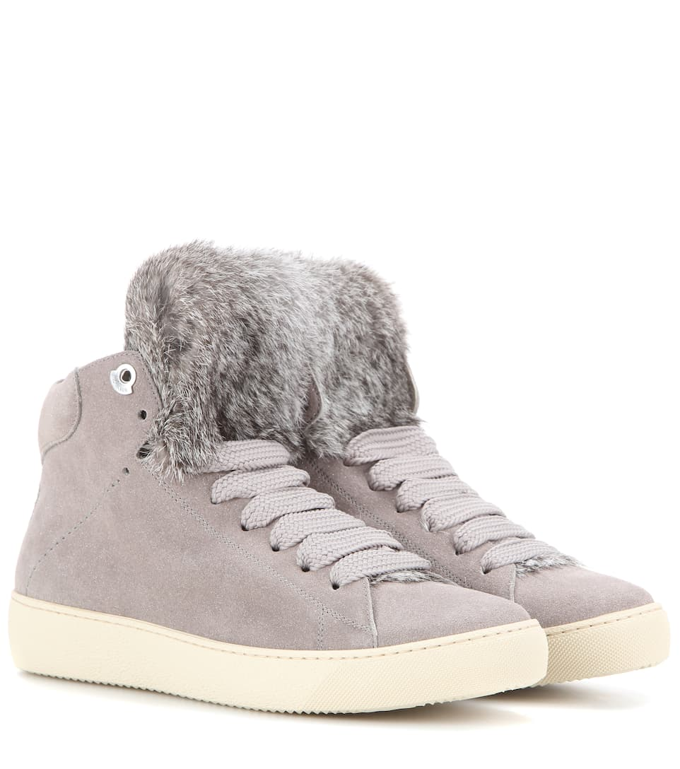 Moncler Angele fur-trimmed glitter suede sneakers