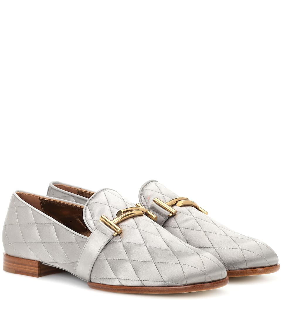DOUBLE T SATIN LOAFERS