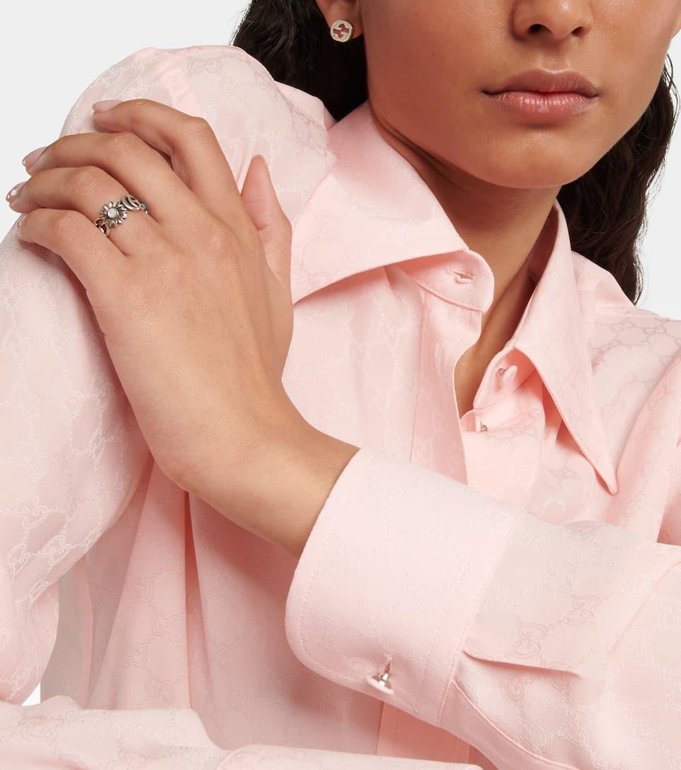 81ffaf39f Gucci - Anillo de plata con topacio y nácar Doble G flower   Mytheresa