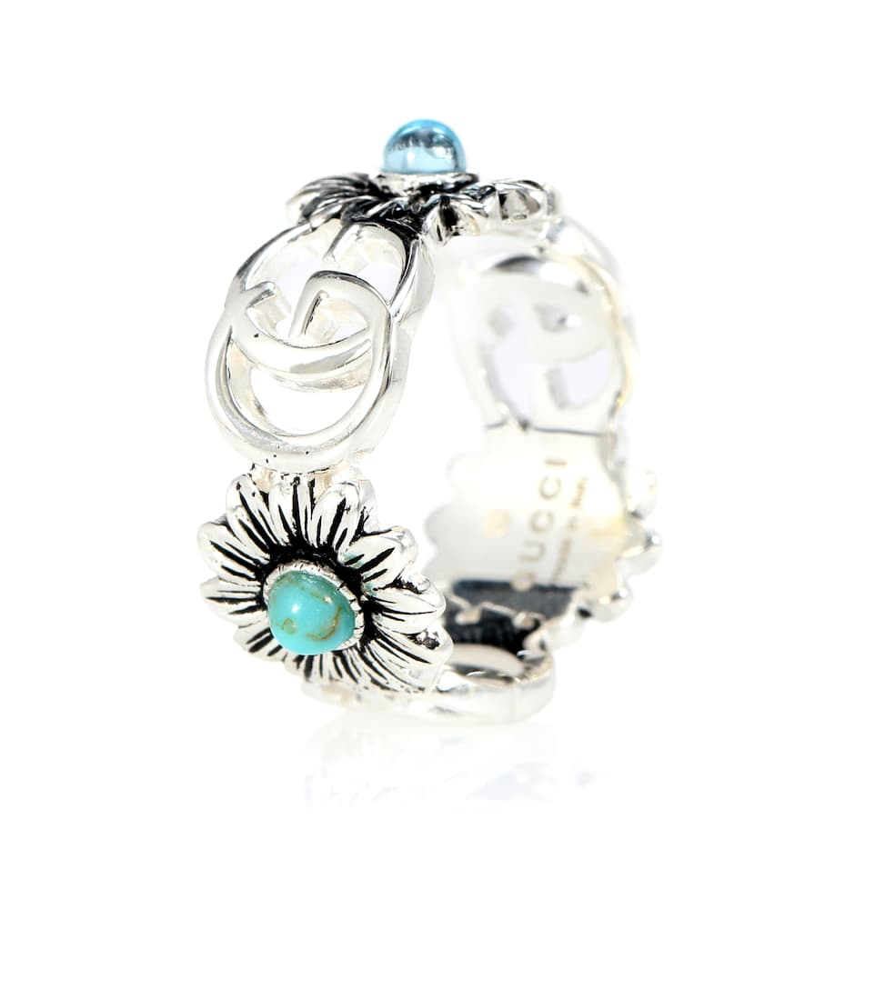 811fbe5e1 Double G flower sterling silver ring with topaz and mother of pearl. Gucci